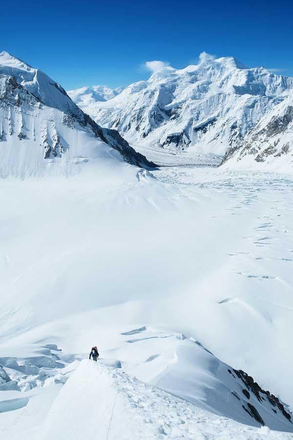 Climbing through snow field